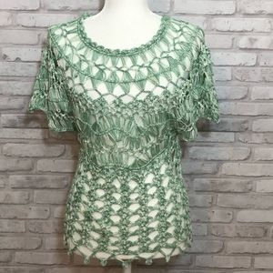 Boston Proper Green Crochet Shortsleeved Top, XS
